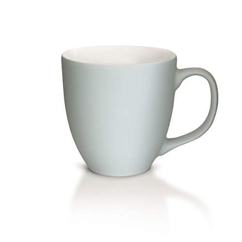 Mahlwerck XXL Jumbotasse, Große Porzellan Kaffee-Tasse mit matter Soft-Touch Oberfläche, Soft Hell-grau, 450ml
