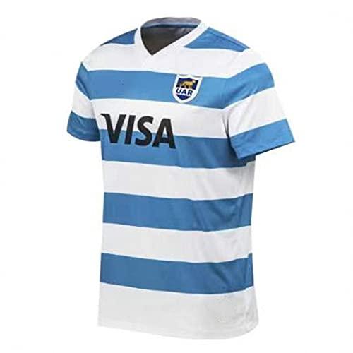 JFIOSD 2021 Argentina Home/Away Rugby Jersey,Mujer Casual Respirable Camisa,Hombre Verano Cuello Redondo Manga Corta,Blanco,5XL