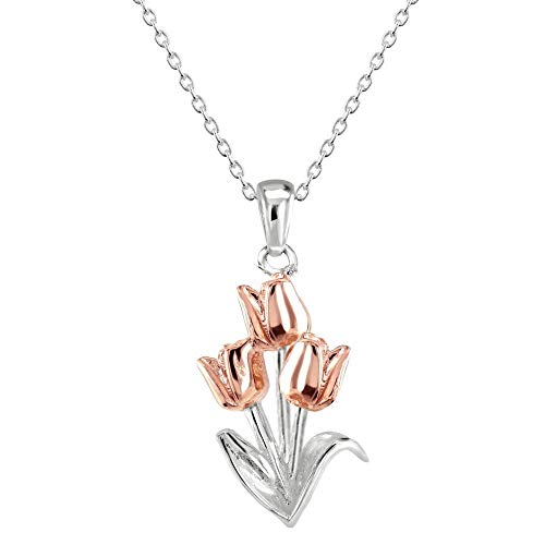 Dew Sterling Silver Tulip with Rose Gold Plate Pendant 90805RG028