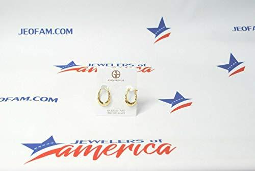 Giani Bernini Pequeños pendientes de aro de plata de ley de oro de 18 quilates