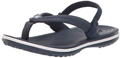 Crocs Unisex-Kid's Crocband Strap Flip Flop Ballet Flat, Navy, 12 M US Little Kid
