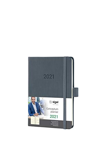 SIGEL C2167 Terminplaner Wochenkalender 2021, ca. A6, Hardcover, dunkelgrau, mit vielen Extras, Conceptum - weitere Modelle