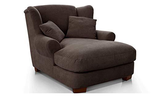 CAVADORE XXL-Sessel Oasis / Großer Polstersessel im modernen Design / Inkl. 2 schöne Zierkissen / 120 x 99 x 145 / Webstoff in espresso