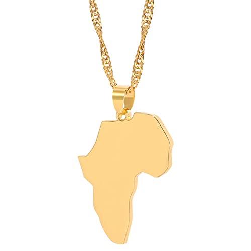 Collar con colgante de mapa de África, estilo hip-hop, estilo personalidad, para mujer, hombre, regalo de joyería