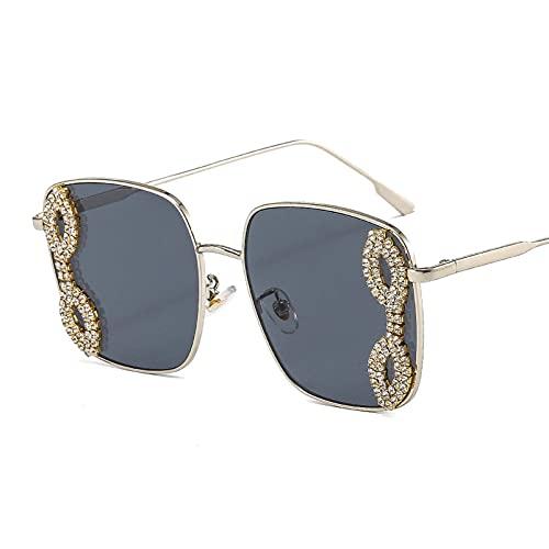 AMFG Gafas De Sol De Marco Grande De Moda Con Diamantes, Gafas De Sol Cuadradas Simples, Gafas De Sol De Fotografía De Calle De Metal (Color : A, Size : M)
