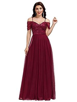 Ever-Pretty Women's A-Line Cold Shoulder Wedding Party Long Bridesmaid Dress Burgundy US4
