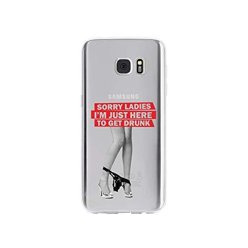 licaso Handyhülle kompatibel für Samsung Galaxy S7 Edge I Schutzhülle aus TPU mit Sorry Ladies I'm Just Here to Get Drunk Print I Transparente Hülle Handy Aufdruck I Weich Silikon Durchsichtig