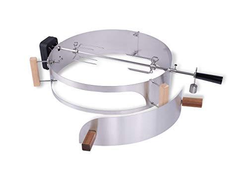 Moesta-BBQ 10093 Rotisserie-Set mit Smokin' PizzaRing – Drehspieß mit kabellosem Batterie-Motor für Kugel-Grills 57cm Ø