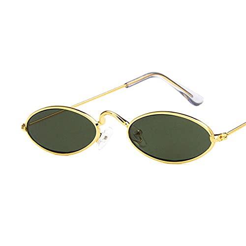 Astemdhj Gafas de Sol Sunglasses Gafas De Sol Ovaladas De Montura Pequeña para Mujer, Diseñador De Marca, Lente Oceánica, Gafas De Espejo, Aleación, Fiesta, Uv400, Dorado, Verde OAnti-UV