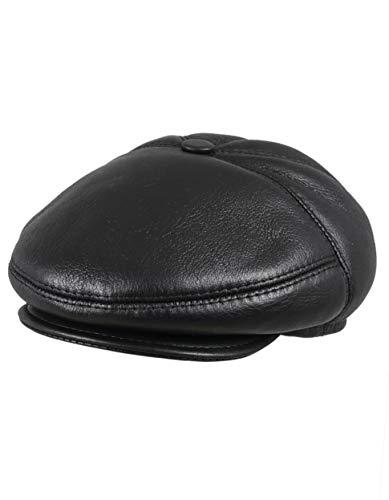 Zavelio Men's Leather Shearling Sheepskin 5 Panel Ivy Driving Cap XX-Large Black