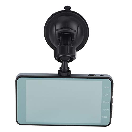 Grabadora de conducción de 4 Pulgadas HD y Gran Angular, grabadora de conducción de Doble Lente DVR Pantalla táctil G-Sensor 1080P 170 ° Visión Nocturna de Gran Angular ABS