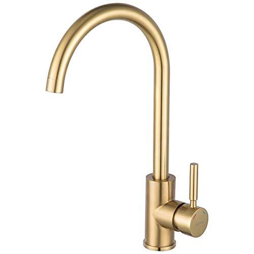 GAPPO Wasserhahn für Küchenspüle, gebürstetes Gold, bleifrei, Einhebelmischer für Badezimmer, Küchenarmatur in Edelstahl