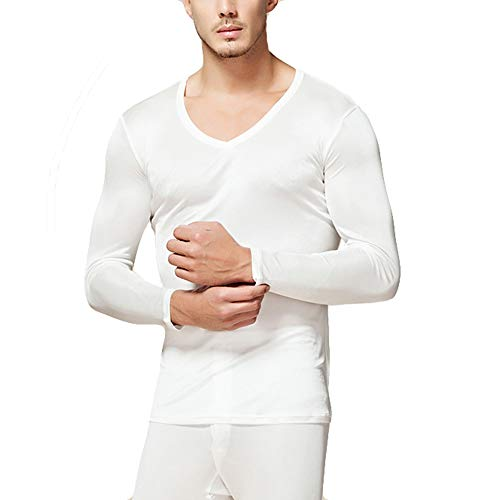 LingDooo Mens Pure Silk Winter Knit Underwear Winter Thermal Long Johns Set V Neck Silk Shirt +Pants (XL(Tag 3XL), V-White)