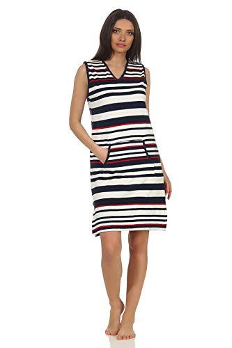 Ärmelloses Damen Achselträger Frottee Strandkleid Nachthemd in maritimer Streifen Optik, Farbe:Marine, Größe2:48/50