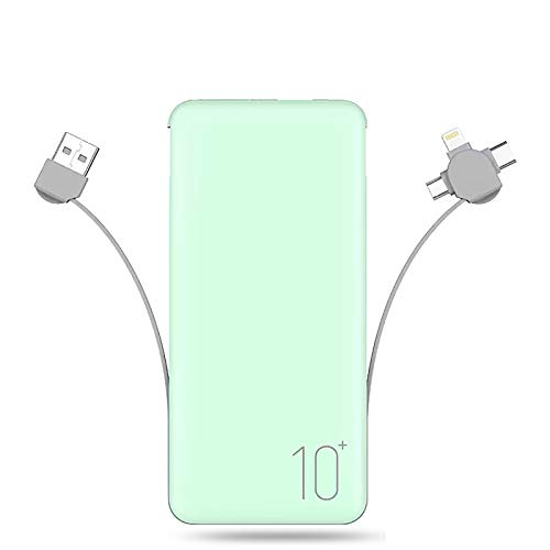 WXLSQ External Battery 10000mAh Power Bank, with Built in Cable Portable Charger Battery Backup Compatible with iPhone iPad Android Phone Power Packs,Green,10000mAh