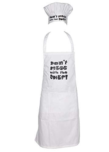 Sterling Smart® Heren Katoen Schort & Hoed Set Koken Chef Keuken Katoen Schort Novelity BBQ Grappig Schort Novelty Grilling Ideeën Keuken BAKEWARE APRON