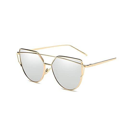 arhujion Gafas de sol Gafas de sol gato espejo gafas de sol de la marca de la marca diseñador escudo vintage sol gafas de sol gafas de sol de lujo gafas de sol para hombre (Lenses Color : Gold Gray)