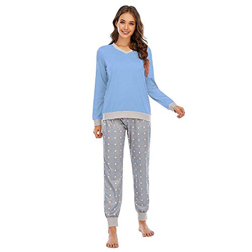 Damskie zestawy piżamowe, wiosna elegancka dwuczęściowa bielizna nocna z długim rękawem niebieska bluzka z kropkami małe spodnie z nadrukiem wygodny puszysty domowy dodatek dla kobiet szlafrok prezent dla kobiety miesiąc miodowy, L