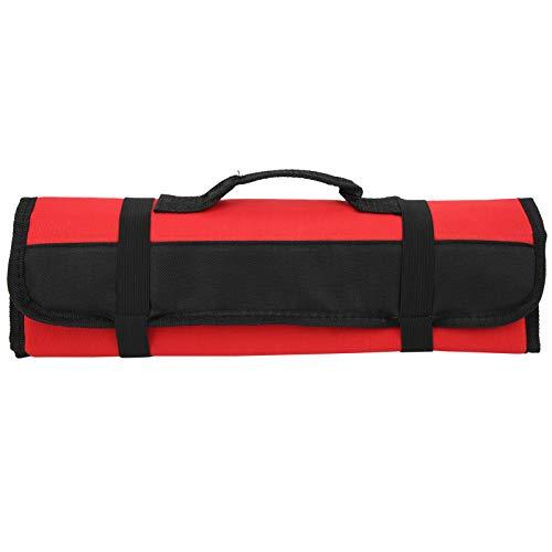 Asixxsix Bolsa con Rollo de Herramientas, Bolsa de Herramientas Plegable, Duradera para alicates, Destornilladores(Red)
