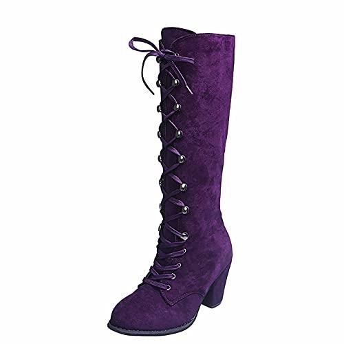 Stivali Donna Moda Casual Vintage Retro Stivali a metà polpaccio Scarpe con lacci e tacchi spessi (37,viola)