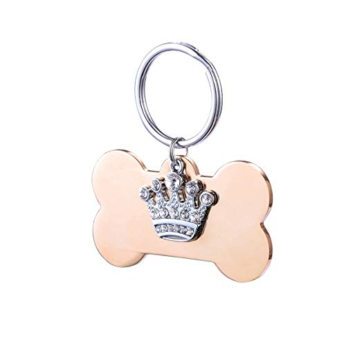 Stainless Steel Custom Pet ID Tags, Personalized Bone Shaped Dog Cat Tags Tag with Rhinestone Crown Pendant, Engraved on Both Sides, up to 8 Lines of Custom Text