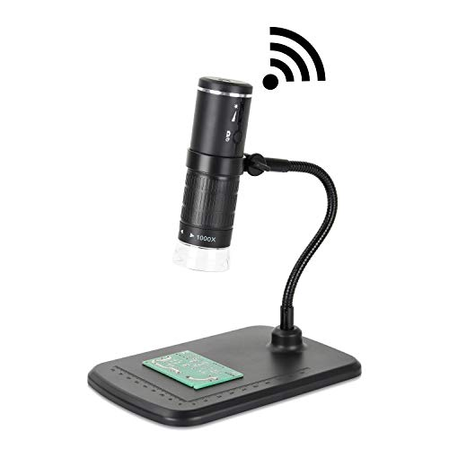 AOMEKIE Wireless WiFi Microscope 50-1000X 1080P Handheld Digital Microscopes Portable with 8 LED Light for Phone and Pad