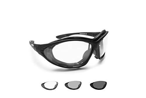 BERTONI Photochrome Motorradbrille Schutzbrille Selbsttönende Antibeschlag UV Schutz mit austauschbare Bügel oder Kopfband - F333A Automatische Scheibentönung Kat 0 bis 3