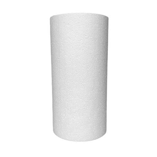 Lealoo Cylindre en polystyrène diam. 20 x Haut. 40 cm, Colonne en Styropor Blanc pour présentoir, de densité Pro, 28 kg/ m3