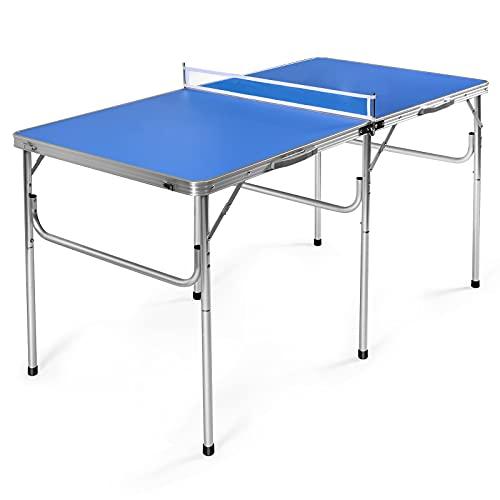 COSTWAY Mesa Ping Pong Plegable Tenis de Mesa con Red 152,4 x 76,2 x 76,2cm con Raquetas Pelotas y Red