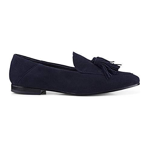 Cox Damen Tassel-Loafer aus Leder, Slipper in Blau mit eleganter Laufsohl, schicken Quasten und Leichter Laufsohle Blau Rauleder 38