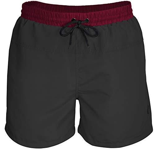 urban ace   Classics   Badeshorts, Badehose   für Männer aus schnelltrocknendem Material, Zweifarbige Bermuda Schwimmhose (schwarz/weinrot, XL)