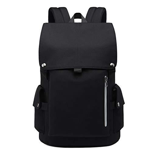 Neuleben Wasserabweisend Anti Diebstahl Rucksack Schulrucksack Daypack 14 Zoll Laptop Rucksäcke Damen Herren Tagesrucksack Schultasche Jungen Mädchen Teenager (Schwarz)