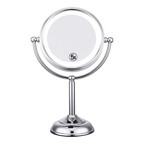GEDHH Schminkspiegel, LED Kosmetikspiegel mit leicht klappbarem Kosmetikspiegel zur Wandmontage 1X 5X beidseitig Heller, Verstellbarer Badspiegel