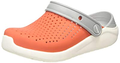 Crocs Kids' LiteRide Clog | Casual and Comfortable Athletic Kids' Shoes, Tangerine/White, J2 US Little Kid