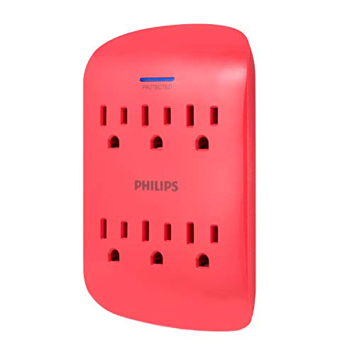 PHILIPS 6-Outlet Surge Protector Tap, 900 Joules, 3-Prong, Space Saving Design, Protection Indicator LED Light, Coral, SPP3461CR/37