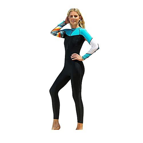 Mode kvinnor våtdräkt, damer full kropp dykning dykning, långärmad en bit badkläder med dragkedja, jumpsuit snorkling baddräkter (Color : Blue, Size : M)