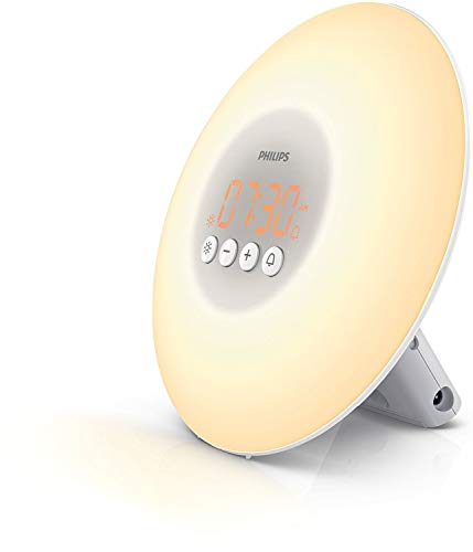 Philips HF3500/01-Despertador mediante, lámpara LED y 10 intensidades de luz, color blanco