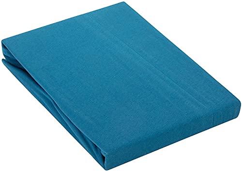 Zané Secrets Sábana bajera de alta calidad, 95 % algodón, 5 % elastano, 200 g/m², 180 x 200 cm + 16 cm de altura (azul petróleo 200 g/m²)