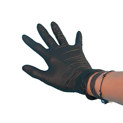 100 Einweghandschuhe Einmalhandschuhe Nitril schwarz ungepudert im Spender S M L XL zur Auswahl (S)