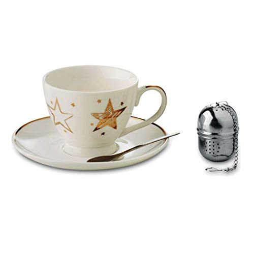 noTrash2003 Taza de té navideña con plato, cuchara y infusor de acero inoxidable, estrella dorada, decoración en caja de regalo