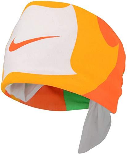 Nike AC0339–Bandana unisex de gran calidad, para usar como banda para el cabello, con el logo Nike en forma de bigote talla única Orange/Yellow/Green/White