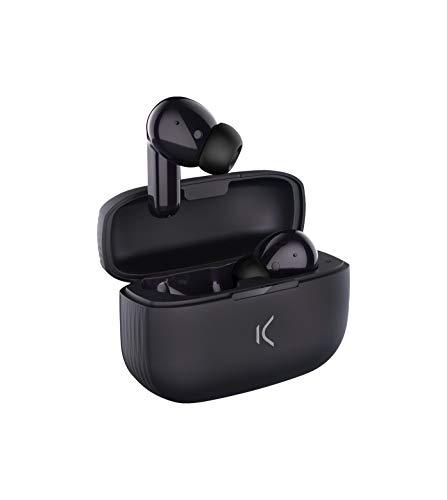 Ksix Auriculares Inalámbricos True Buds 2 con Micro, Compatibles con Google Assistant y Siri y 20 h de Reproducción, Control Táctil, Negro