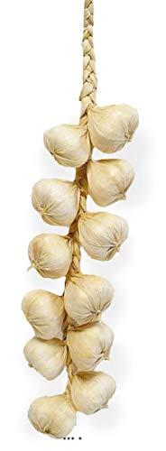 Artif-deco - Tresse d ail x12 artificiels Legume l 40 cm d 6 cm h 5 cm