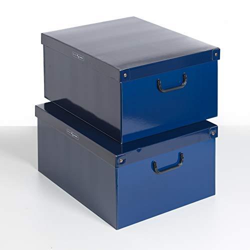 SET DE DOS Cajas de almacenamiento en cartón, tamaño grande, 2 unidades, modelo AZUL