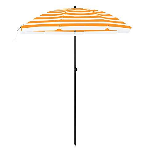 SONGMICS Sonnenschirm, Ø 160 cm, Marktschirm, UV Schutz UPF 50+, Sonnenschutz, achteckiger Gartenschirm aus Polyester, Schirmrippen aus Glasfaser, mit Tragetasche, orange-weiß gestreift GPU60OW