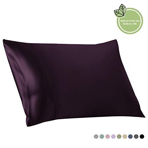 ElleSilk 100% Seide Kissenbezug, Seide Kopfkissenbezug, 22 Momme, Hochwertigste Maulbeerseide, Natürlicher Farbstoff, Super Weich und Gemütlich, 50 x 65 cm, Dunkel Violett