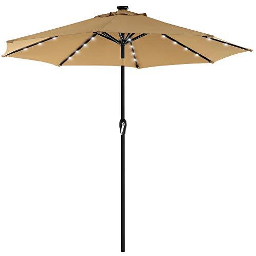 SONGMICS Parasol de jardín con Luces solares LED, Sombrilla Ø 2,7 m, Protección UPF50+, Inclinable, Manivela para Abrir/Cerrar, Base no incluida, Topo GPU040K01