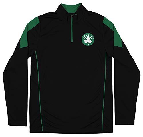 Outerstuff NBA Boston Celtics Youth Boys 1/4 Zip Long Sleeve Mock Shirt, Black (X-Large (18))