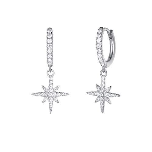 Solide 925 Sterling Silber Creolen Ohrringe Hängend Klein Ohrhänger mit Cubic Zirkonia Kompass Stern Anhänger für Damen Mädchen Mama Kinder - Größe: 26 * 12 mm