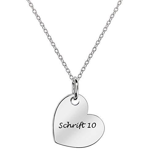 MATERIA Gravur Kette mit Herz Anhänger - 925 Silber Herzkette Liebe rhodiniert nickelfrei klein 42-45cm in Schmuck Box KA-452-Schrifttyp 10